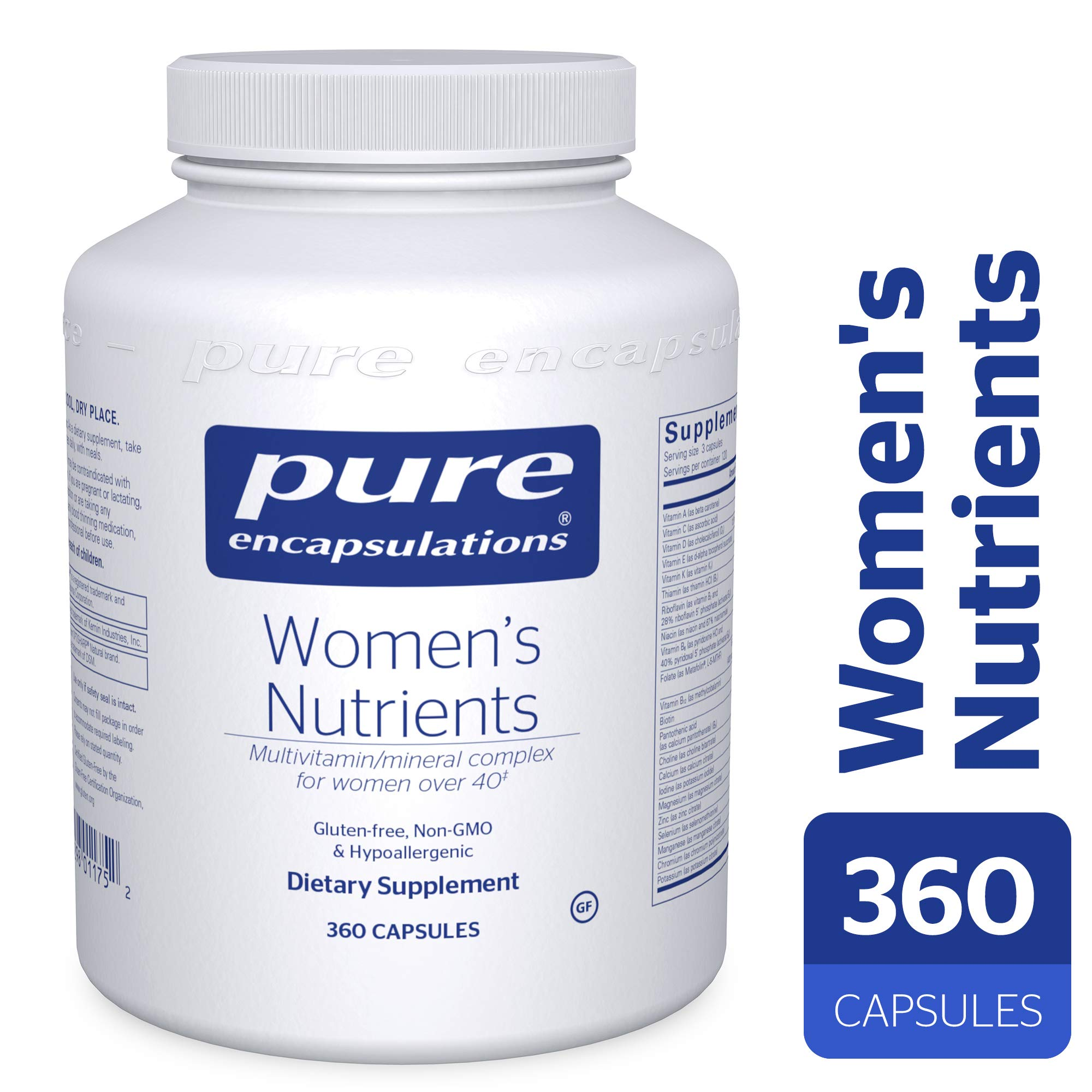 Pure Encapsulations - Women's Nutrients - Hypoallergenic Multivitamin/Mineral Complex for Women Over 40* - 360 Capsules