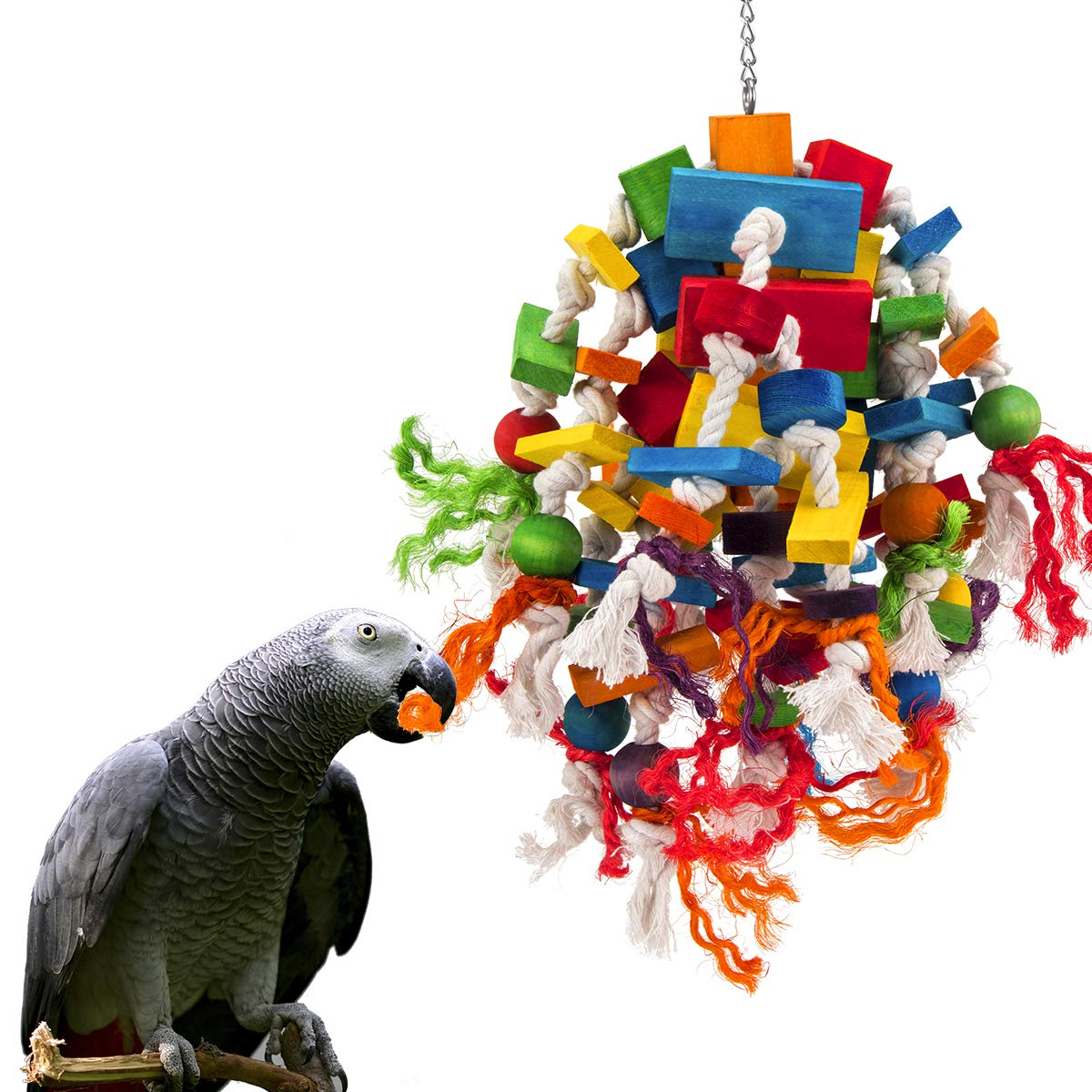 MEWTOGO Large Parrot Toy Multicolored Wooden Blocks Tearing Toys for Birds Suggested for African Grey Cockatoos and a Variety of Amazon Parrots.