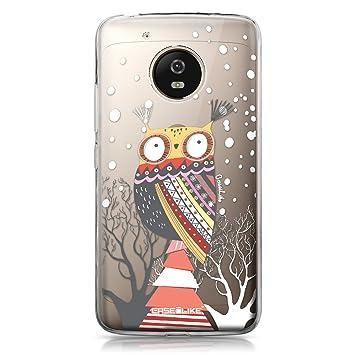 CASEiLIKE® Funda Moto G5, Carcasa Motorola Moto G5, Búho diseño gráfico 3317, TPU Gel Silicone Protectora Cover