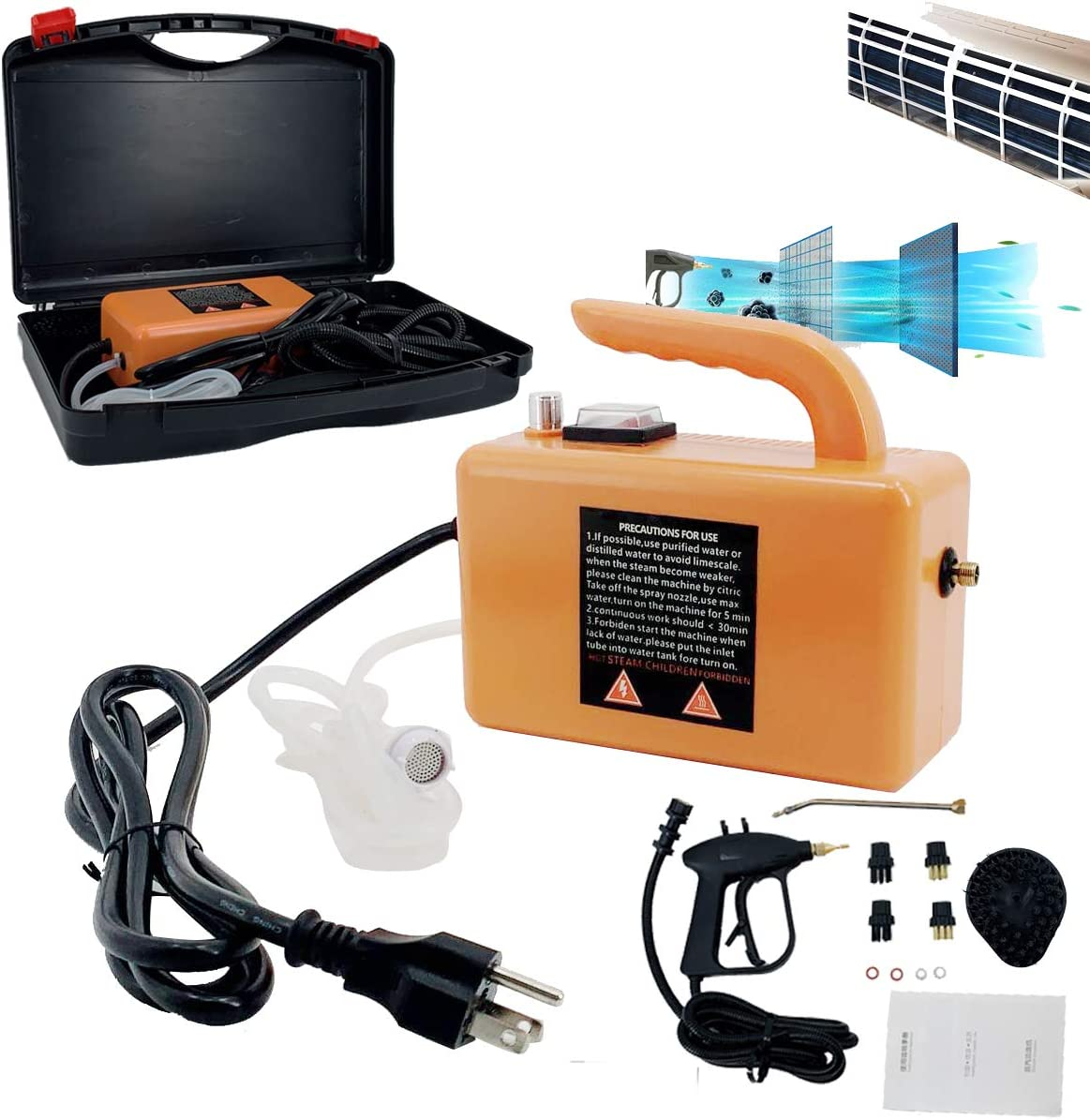 DOMINTY 110V 1700W High Temperature Pressurized Steam Cleaner Handheld Portable Steam Cleaning Machine Automatic Pumping for Kitchen Toilet Car Seat, Orange