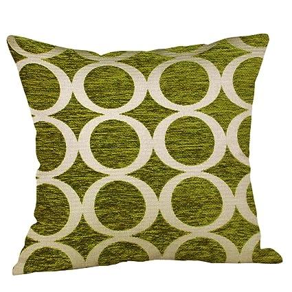 Lowprofile Home Decor Funda de almohada de lino y algodón con estampado de lima verde de