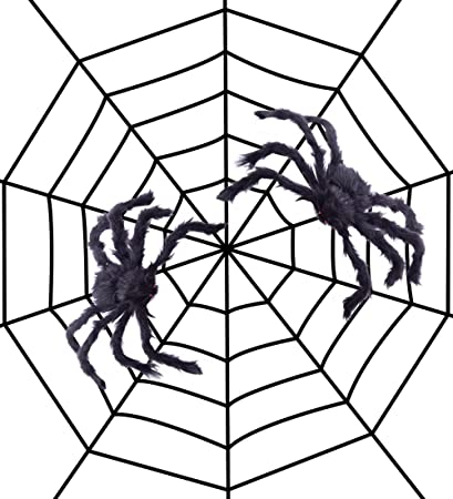 jollylife fake spider web black halloween decorationswith 2 big spiders outdoor yard haunted