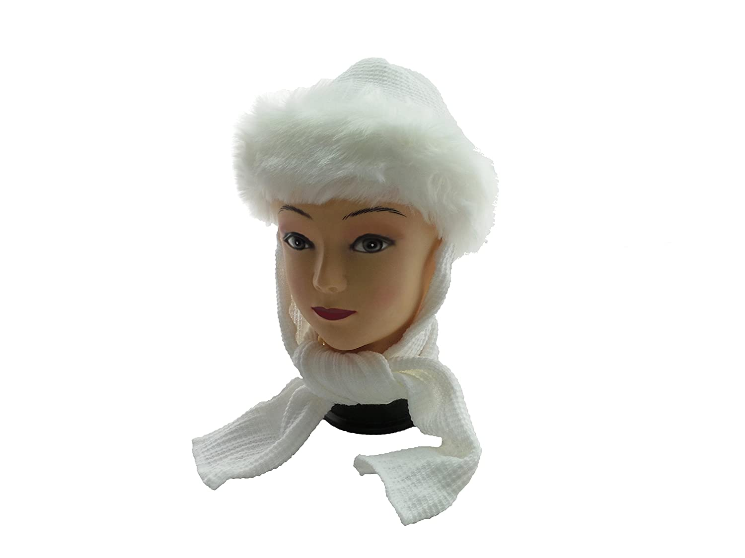TinyTitans White Baby Girls Classic Russian Winter Fur Scarf Hat 6-24months  (M (12-18months))  Amazon.co.uk  Baby 0afba9a42