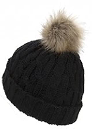883ddc23f25 Ladies   Womens Faux Fur Bobble Beanie Hat Fixed Pom Pom Winter (Fixed  Cable Knit Black)  Amazon.co.uk  Clothing