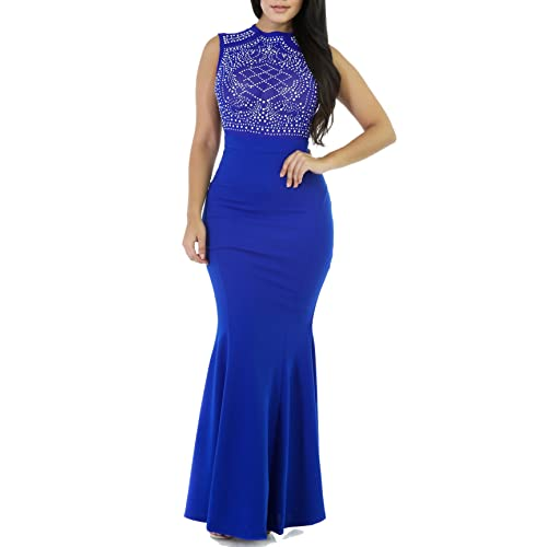PRETTYGARDEN Womens Long Fitted Beading Sleeveless Mermaid Evening Gown Dress