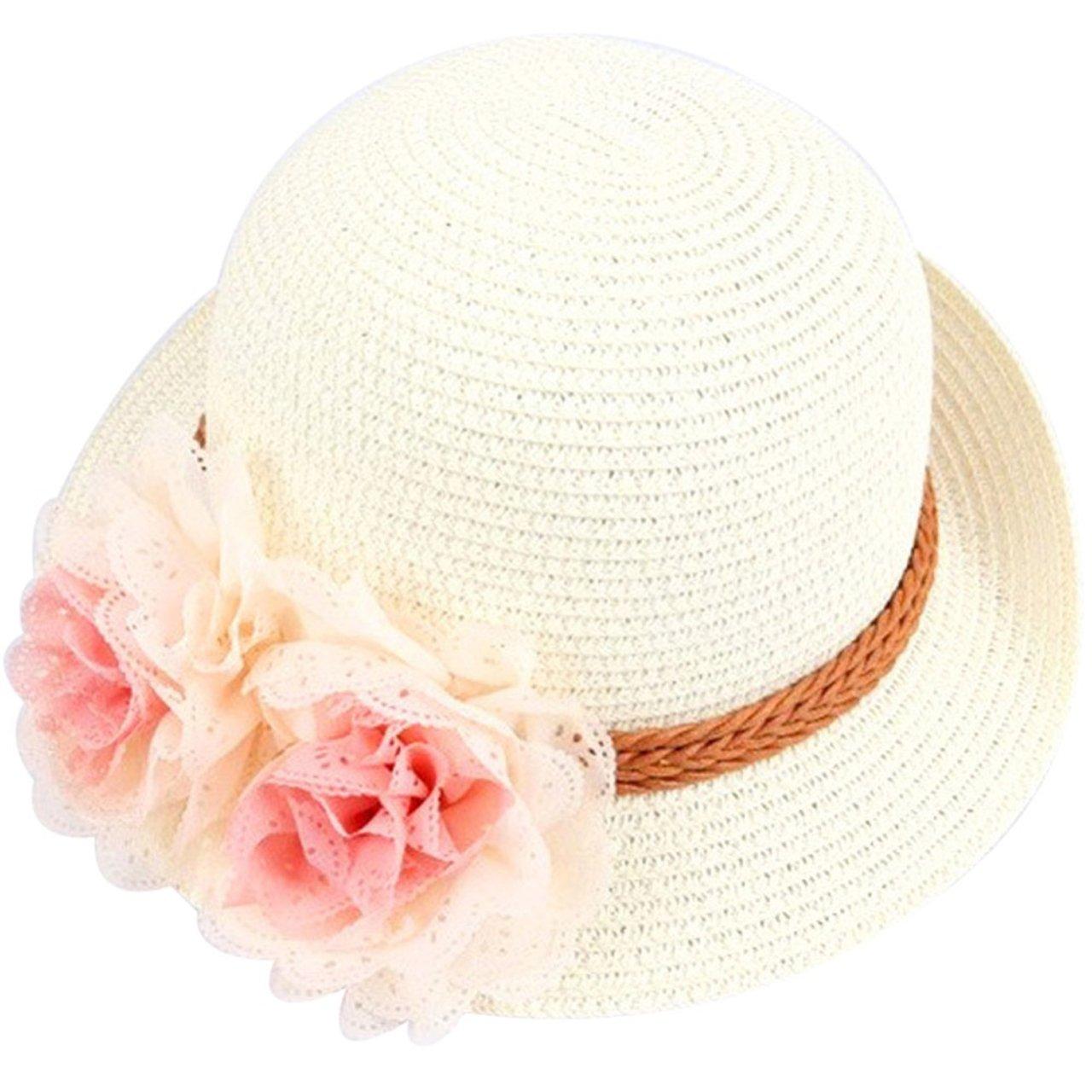 Little Girl Kids Summer Wide Brim Floppy Beach Sun Visor Hat with Lace Flower