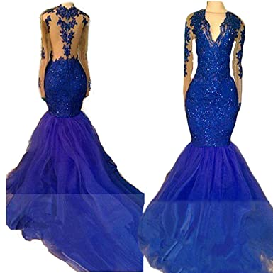810f9585c31 Haokeda Royal Blue Mermaid Prom Dresses Sexy Illusion Long Sleeves Sheer  Appliqued Tulle Evening Gowns at Amazon Women s Clothing store