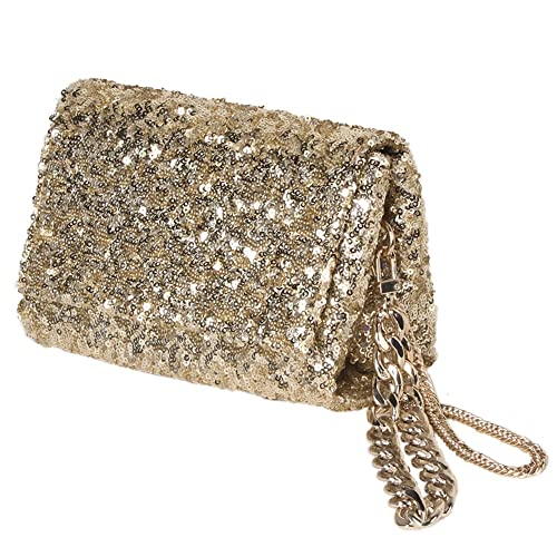 1756c8461b Women Gold Sequin Clutch Purse with Wrist/Sparkly Evening Bag with Flap and  Crossbody Chain for Party: Handbags: Amazon.com