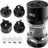 Travel Adapter, Universal Plug Adapter, BEZ® International Plug [US UK EU AU] 5-Piece Set