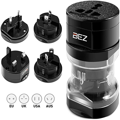 Travel Adapter, Universal Plug Adapter, BEZ® International Plug [US UK EU AU] 5-Piece Set