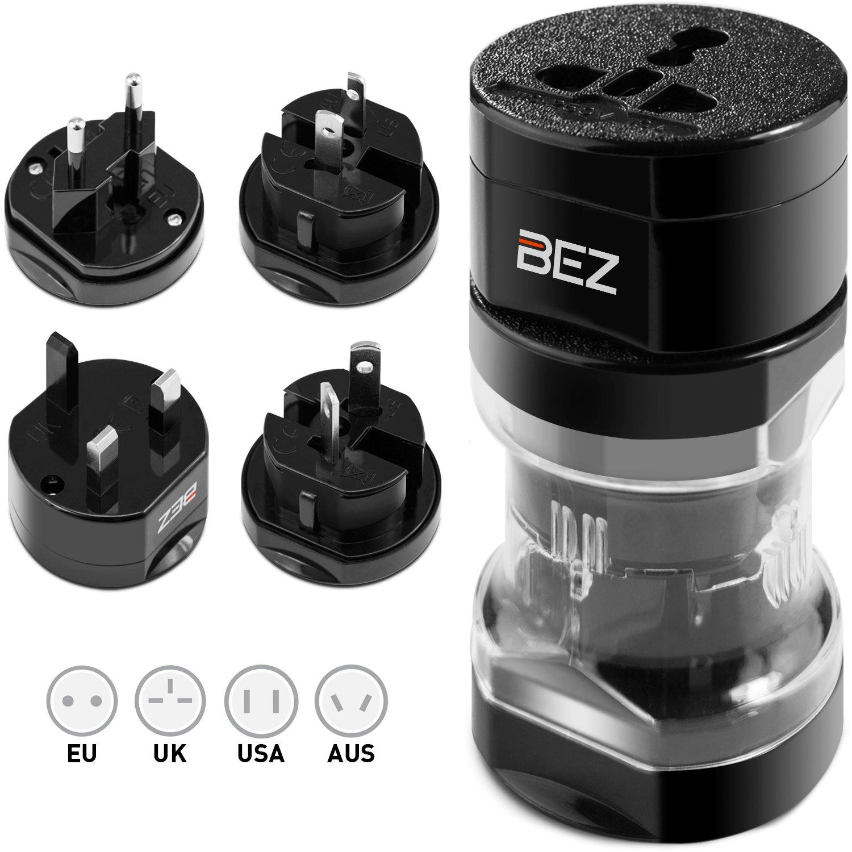 Bez® Reisestecker Adapter, Universal Reiseadapter, Travel Adapter Internationaal stekker [US UK EU au] 5-stuks set met reisebeutel