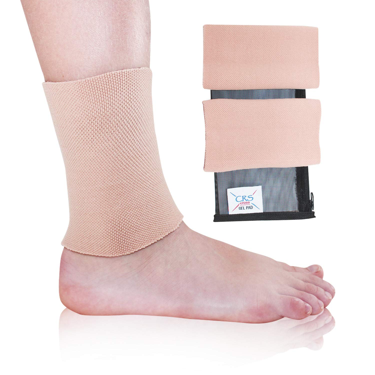 CRS Cross Ankle Gel Sleeves - Padded Skate Socks Ankle Protection (Figure Skating, Hockey, Roller, Inline, Riding, ski or Equestrian Tall Boots) (2 Gel Sleeves)
