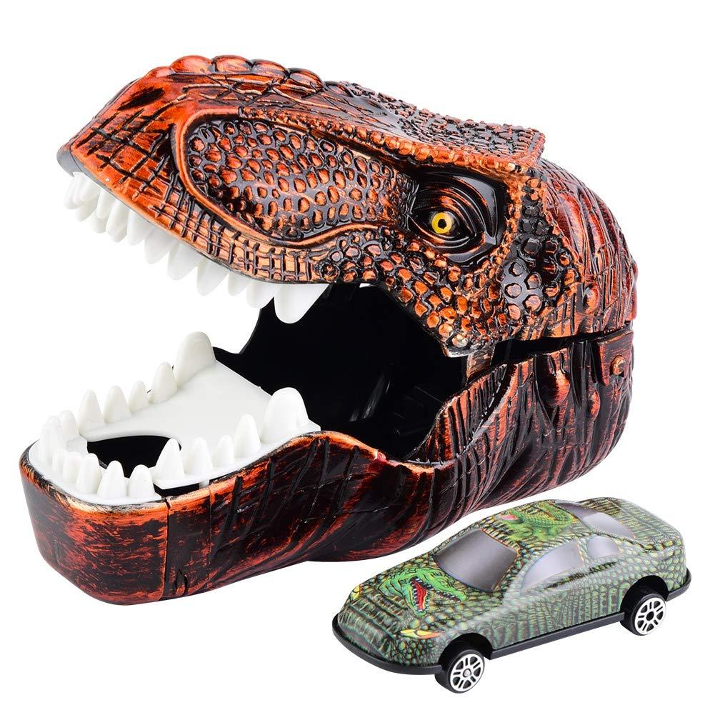 Zerodis Dinosaurier Auto 2 in 1 Simulation Dinosaurier Spielzeug Katapult Fahrzeug Zurückziehen Dinosaurier Fahrzeug Set Tragbar Lernspielzeug für Kleinkinder(Golden)