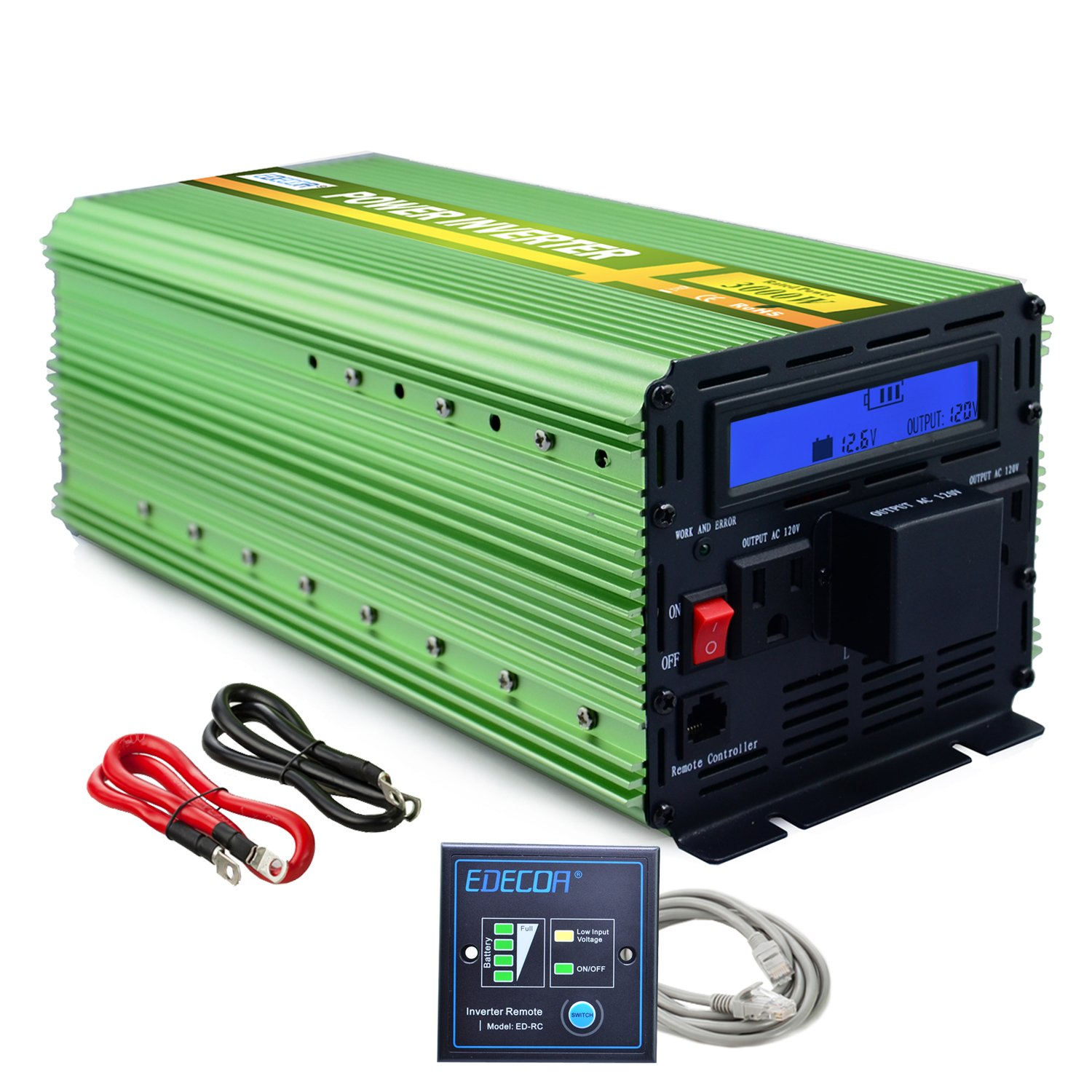Edecoa 3000W Power Inverter DC 12V to 110V AC with LCD Display and Remote by EDECOA