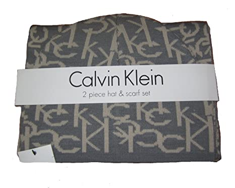 Calvin Klein Hat and Scarf Set (Grey Mushroom) at Amazon Women s ... c8583f9ccee