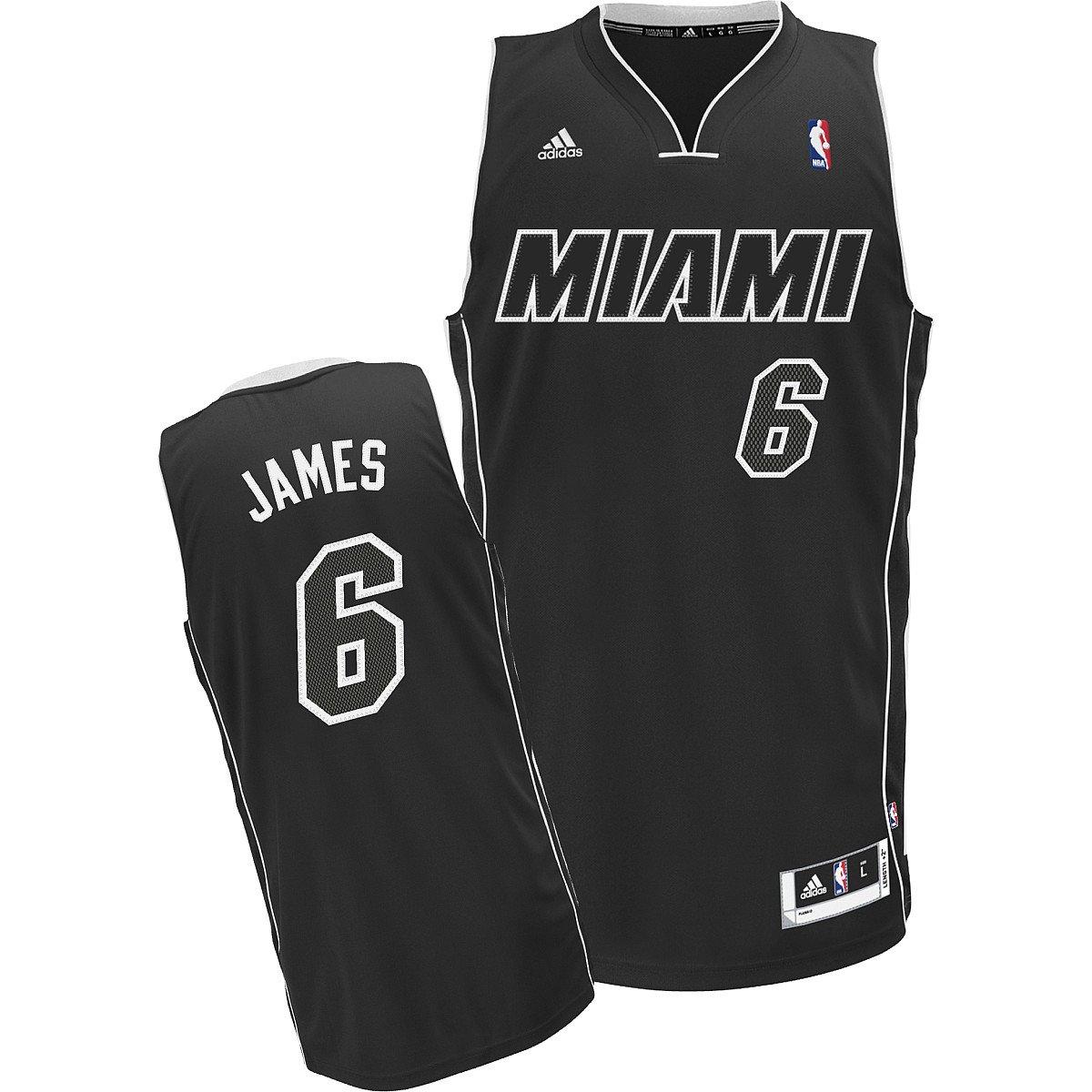 Buy Nba Men S Miami Heat Lebron James Black Black White Swingman Jersey Black White Medium Online At Low Prices In India Amazon In