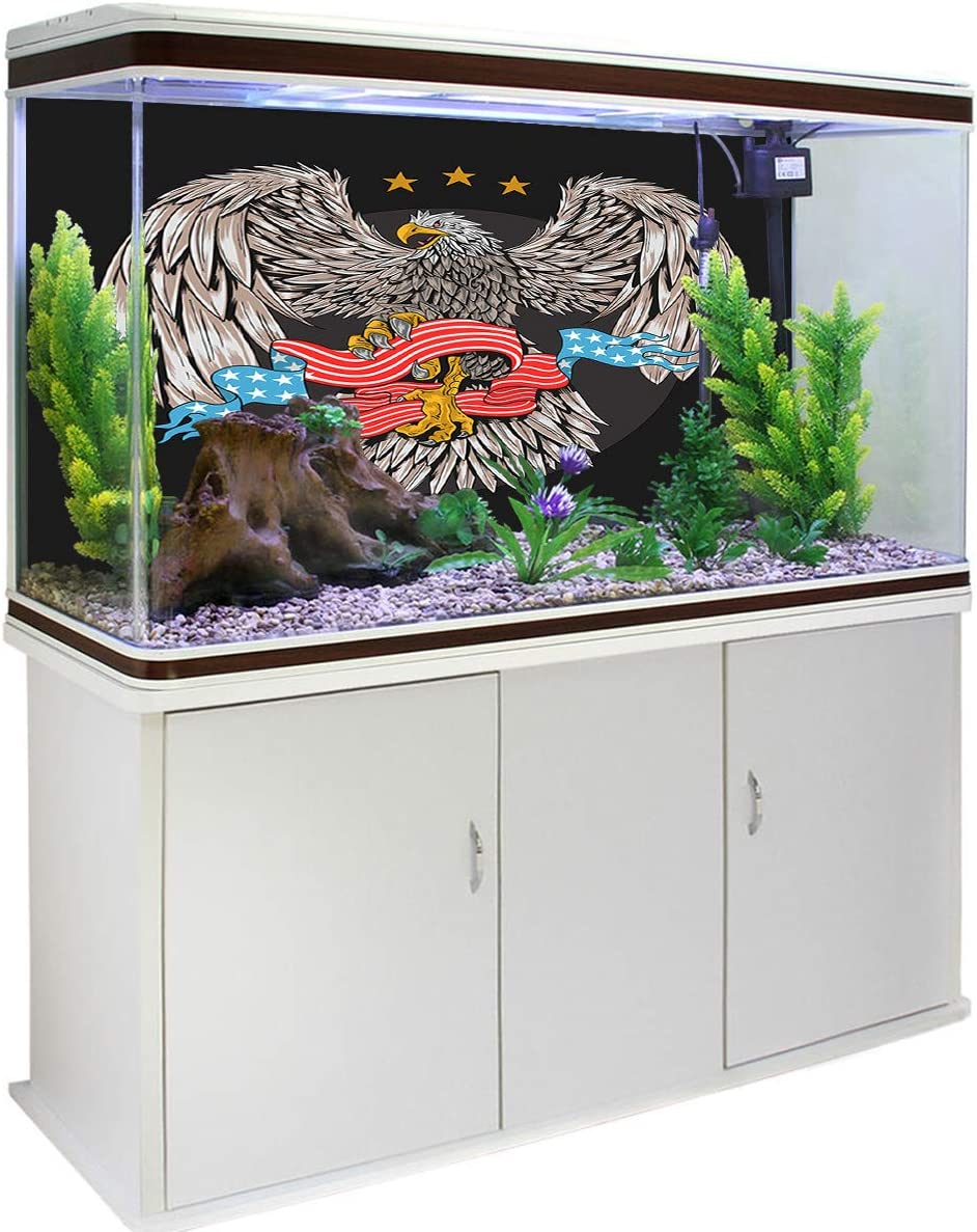 Wild Elephant with Red Sun Skyline Stylish Fish Tank Background Sunup Themed Pet Supplies T/&H Home Aquarium Decoration