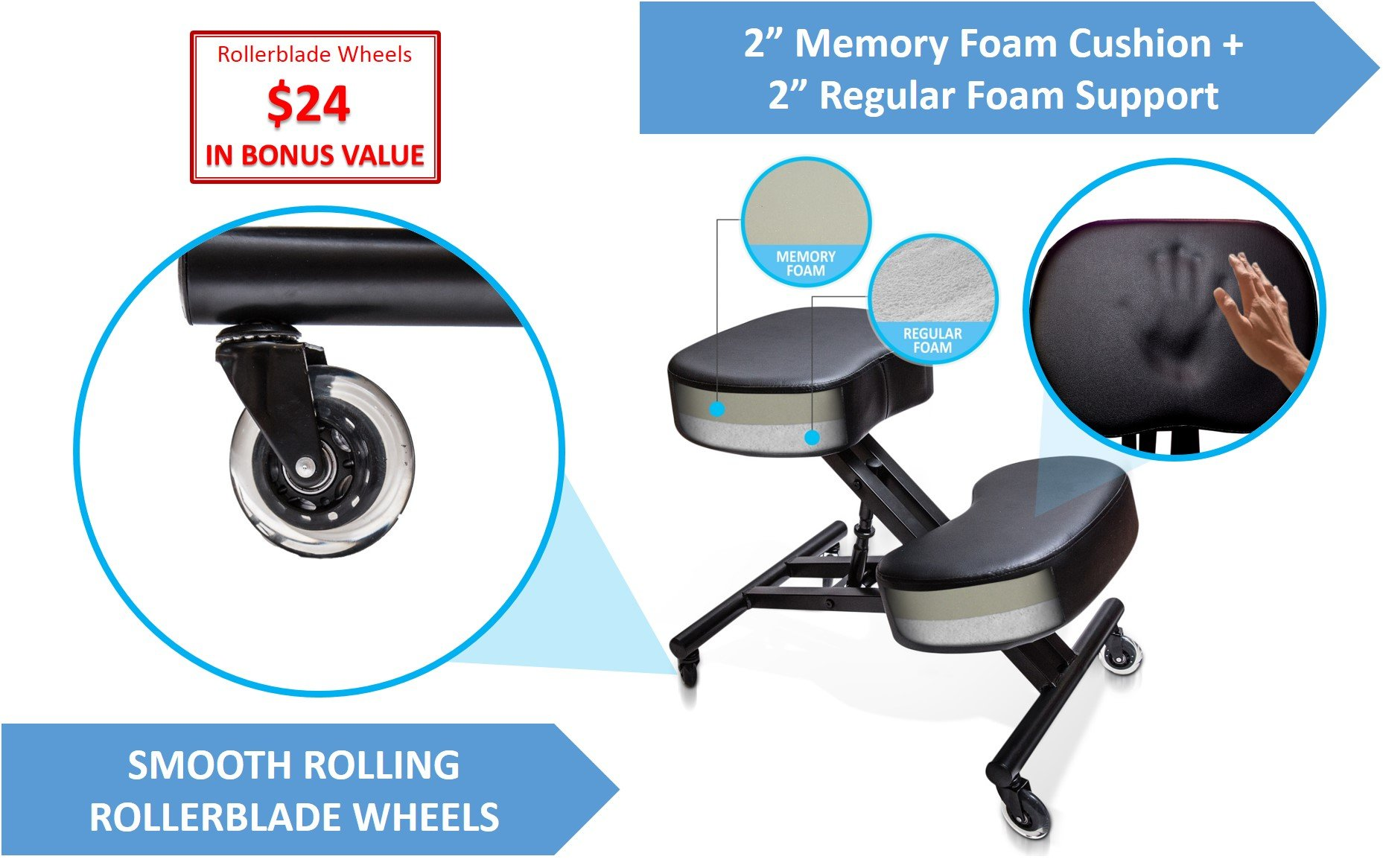 Sleekform Ergonomic Kneeling Chair M2 (Memory/Regular Foam), Adjustable Stool for Home, Office, and Meditation - Rollerblade Casters by Sleekform (Image #2)