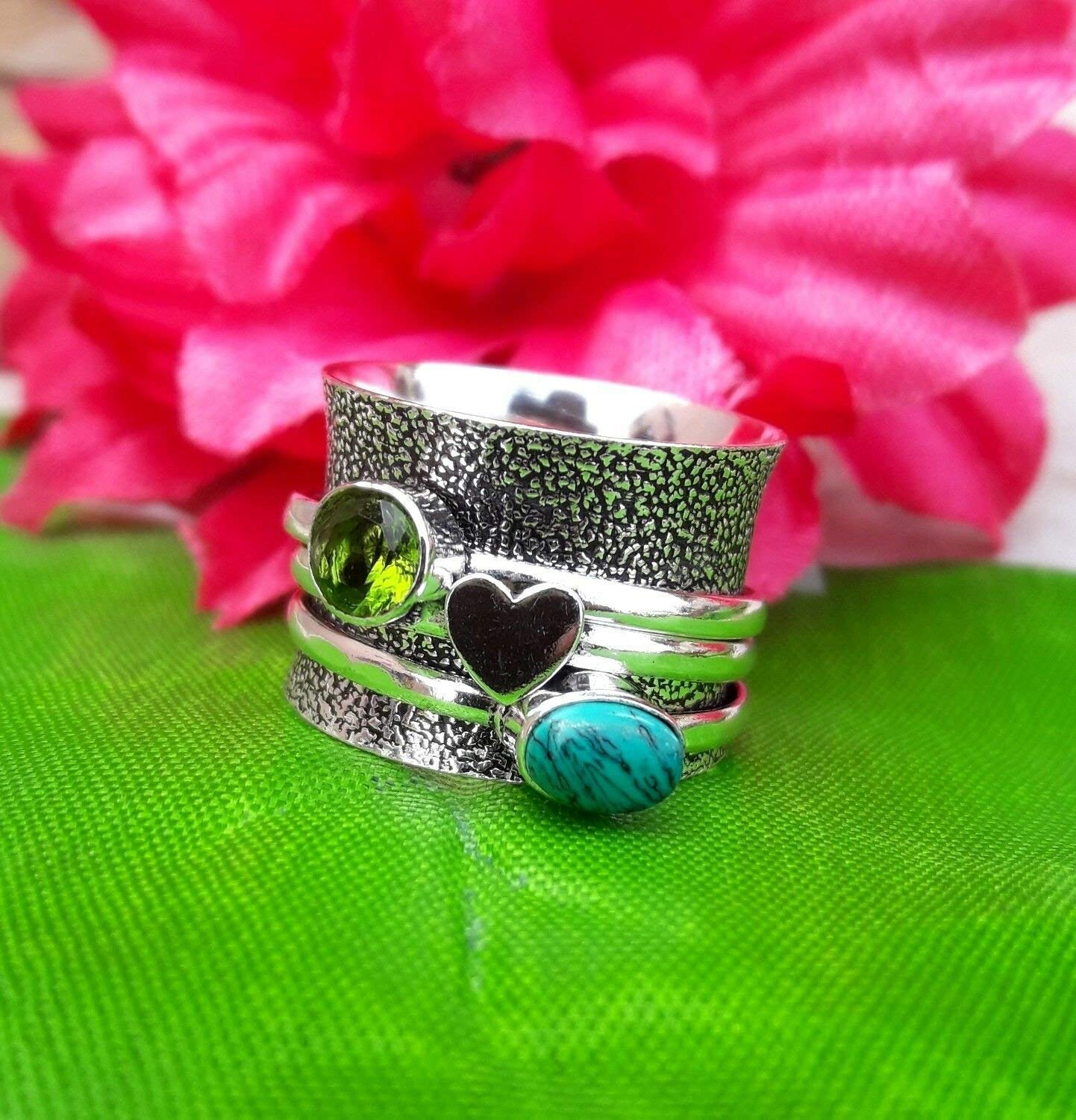 Anxiety Ring for Meditaion 925 Sterling Silver Spinner Band Rings for Women Moonstone Spinner Band Rings Peridot Gift Ring for Mothers Day