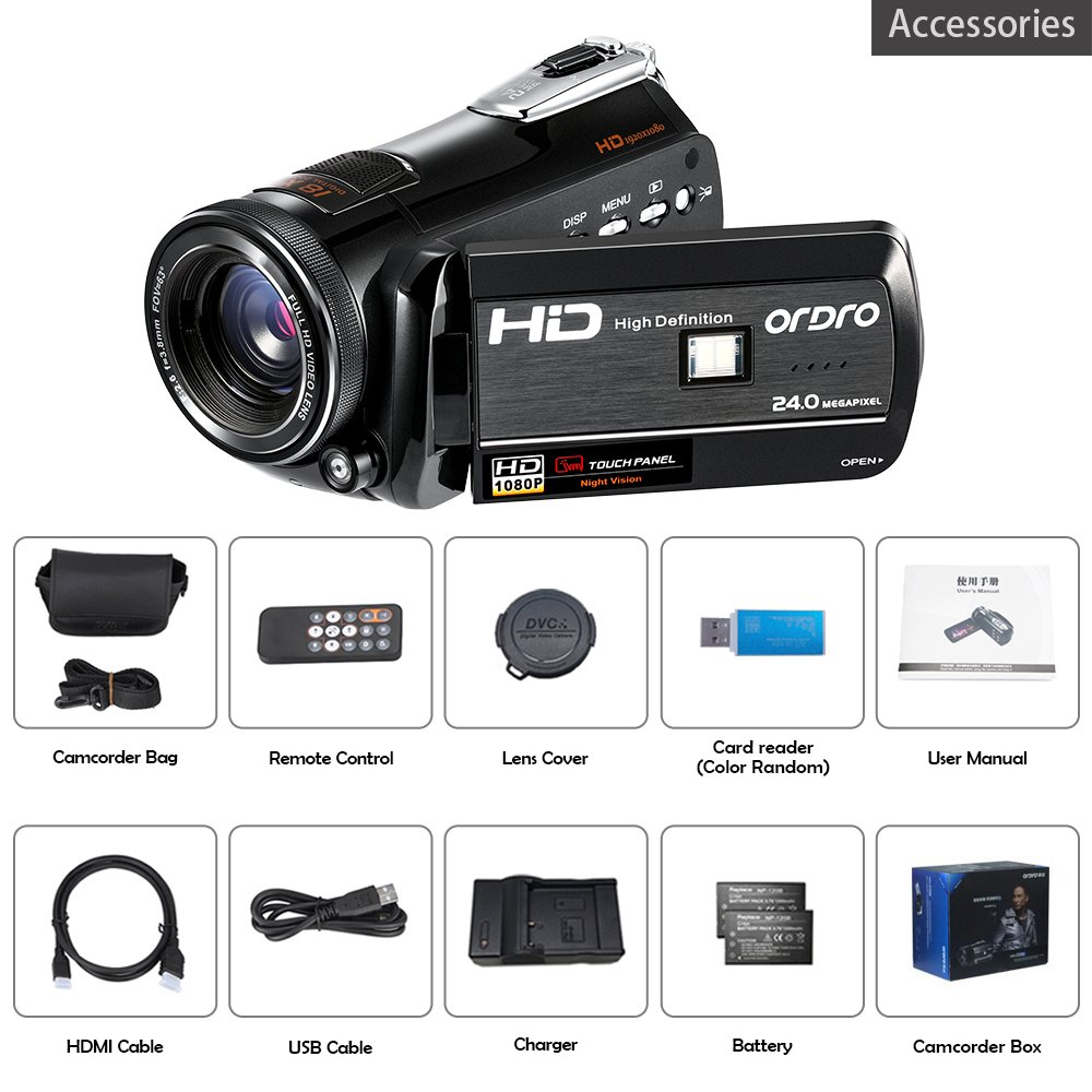 ORDRO HDV-D395 Night Vision Camcorder WiFi Full HD 1080P 18X Zoom Digital Video Camera 3.0Inches LCD Screen Webcam HDMI Remote Control by ORDRO (Image #7)