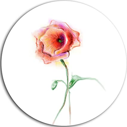 Amazon designart mt10308 c23 red poppy flower with green leaves designart mt10308 c23 red poppy flower with green leaves flower circle wall art disc 23quot mightylinksfo