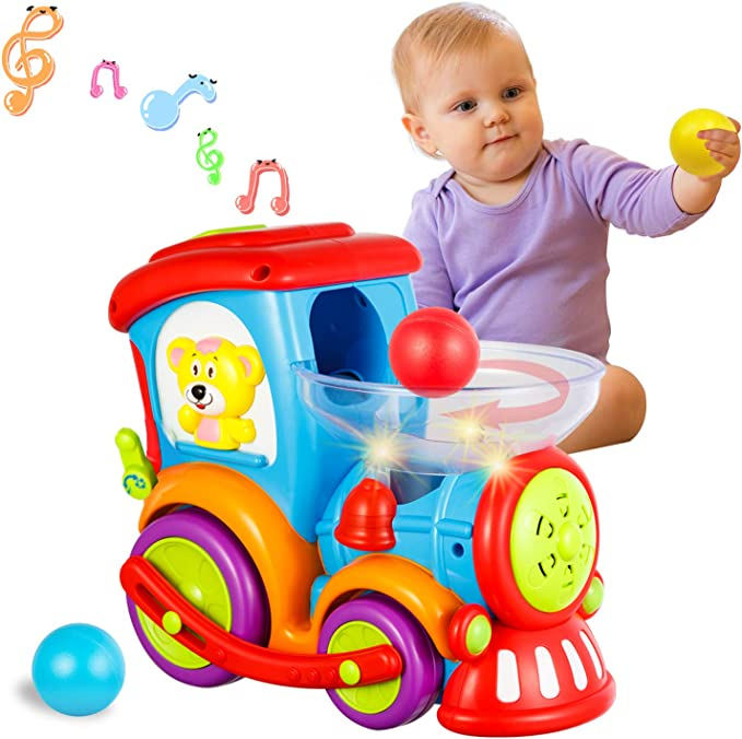 Amazon.com: HISTOYE Toddler Toys Train for Boy Girl Age 2 3 4 Baby Educational Drop and Go Toy Train with 3 Popper Ball Music and Light Baby Toys for Preschool Learning, Developmental Toys for 2 3 4 5 6 Year Olds: Toys & Games
