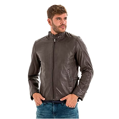 VELEZ Mens Stunning Genuine Colombian Leather Bomber Zip up Jacket Motorcycle Biker Jacket | Chaquetas de Cuero Colombiano para Hombres Gray S at Amazon ...