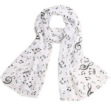 cf41c649016c Qingsun Fashion Femme Foulard, Châle en Mousseline de Soie Echarpe en Ete  Motif Note de Musique(Blanc)  Amazon.fr  Vêtements et accessoires