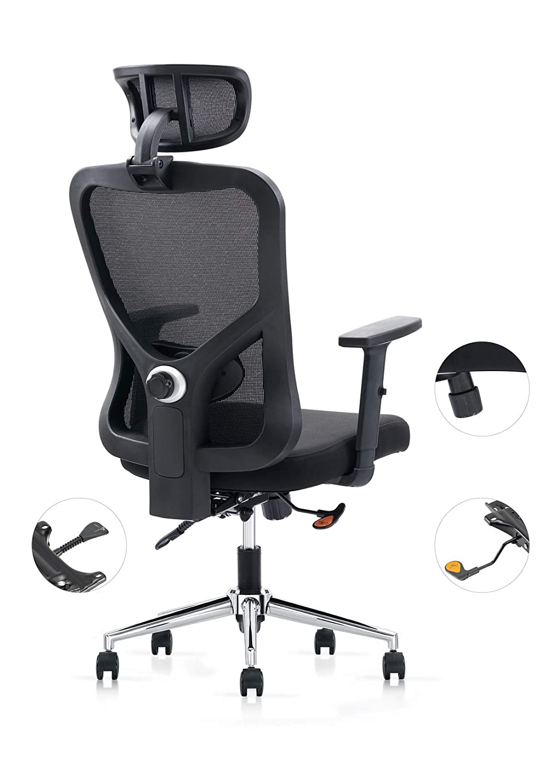 Cedric Office Chair Home Computer Chair Ergonomic Adjustable Headrest PU-Armrest Lumbar Support Mesh Nylon CD-861FH