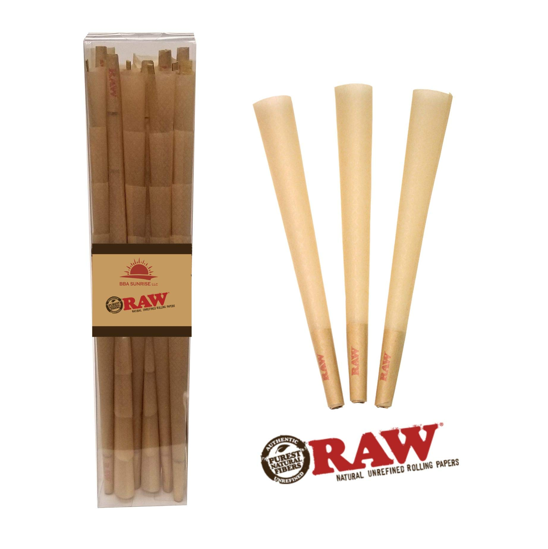 RAW BBA Sunrise Classic King Size Pre-Rolled Cones with Filter Tips - 100 Pack and Cone Loader