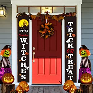 Halloween Porch Sign Decorations - Trick or Treat & It's October Witches Halloween Welcome Signs - Halloween Hanging Banners for Front Door or Indoor Party Home Decor