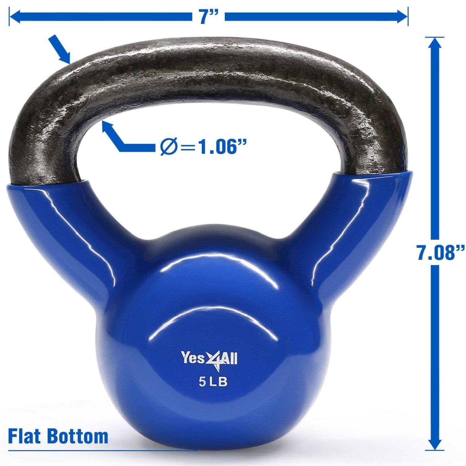Yes4All Vinyl Coated Kettlebell Weights Set - Great for Full Body Workout and Strength Training - Vinyl Kettlebell 5 lbs by Yes4All (Image #3)