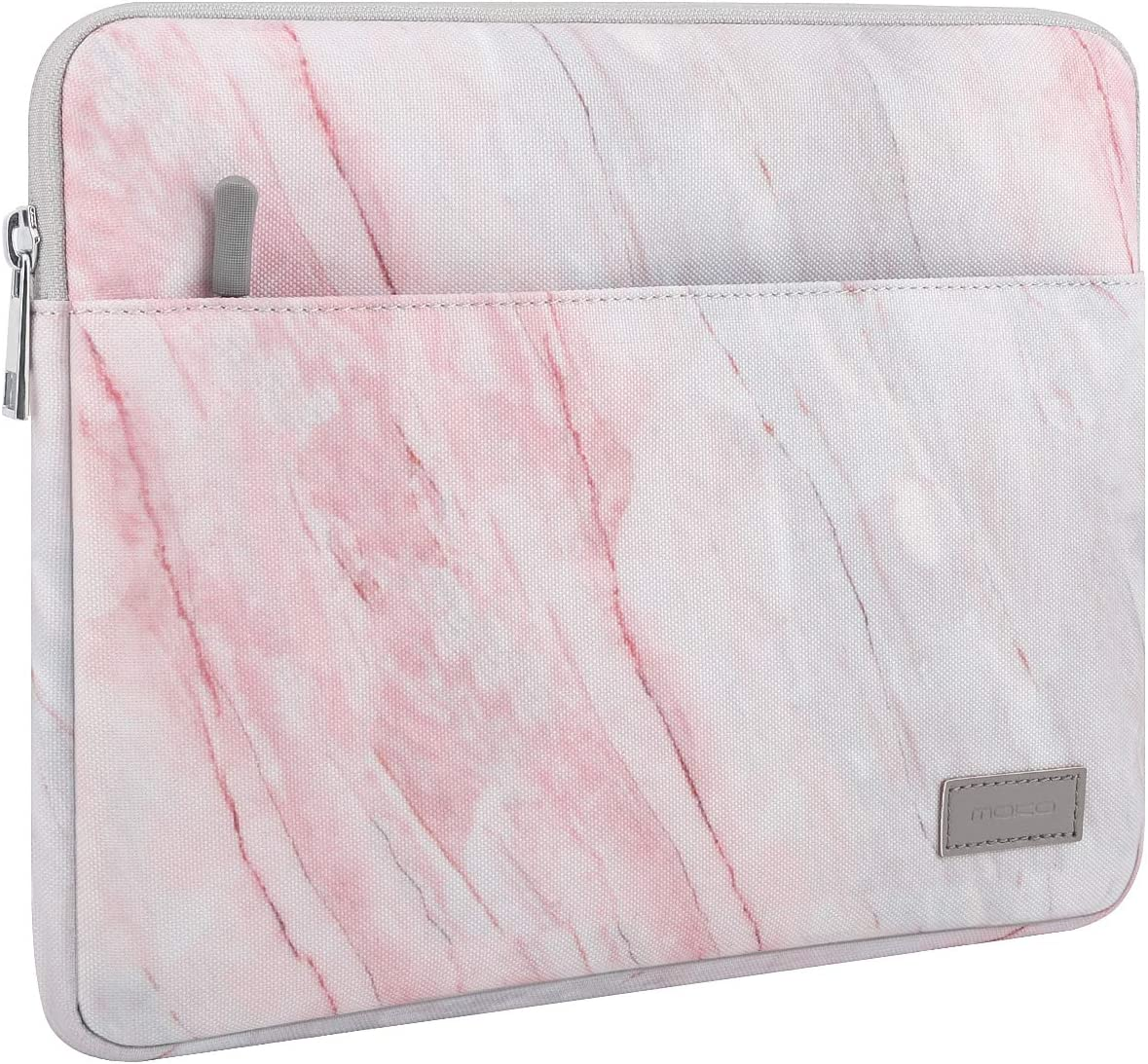 MoKo 13-13.3 Inch Laptop Sleeve Fits MacBook Air 13-inch Retina, MacBook Pro 13 Inch, Protective Notebook Computer Case Cover Polyester Bag with Accessory Pocket - Pink Gray Marble