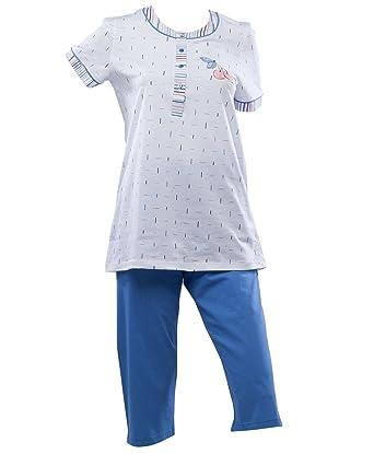 Waite Ltd Ladies Striped Pyjamas Short Sleeved Top   3 4 Plain Bottoms  Cherry Detail ffc795710