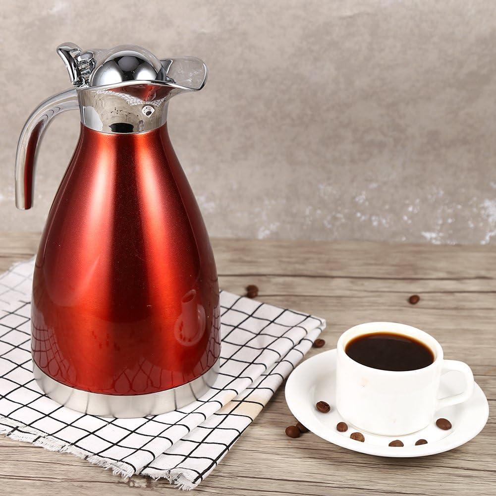 Fdit Tetera de estrobosc/ópico//2L Tetera de caf/é de Acero Inoxidable Doble Pared Aislamiento Thermo Jug Botella de Agua Caliente