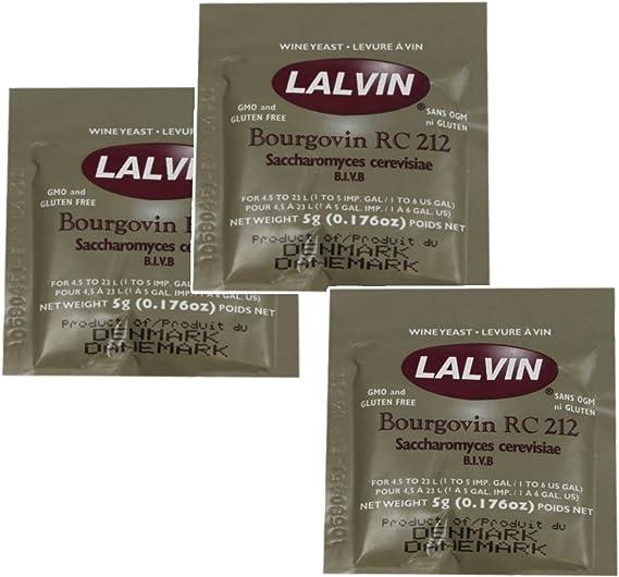 3x Lalvin RC 212 Yeast Red Wine 5g Homebrew Wine Making 4.5L-23L Pinot Noir