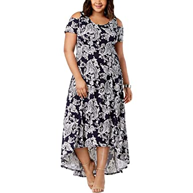4f1cf72fe223 NY Collection Womens Plus Cold Shoulder High-Low Maxi Dress Navy 1X ...