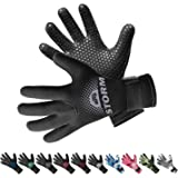 BPS 3mm & 5mm Double-Lined Neoprene Wetsuit Gloves - for Diving, Snorkeling, Kayaking, Surfing and Other Water Sports…