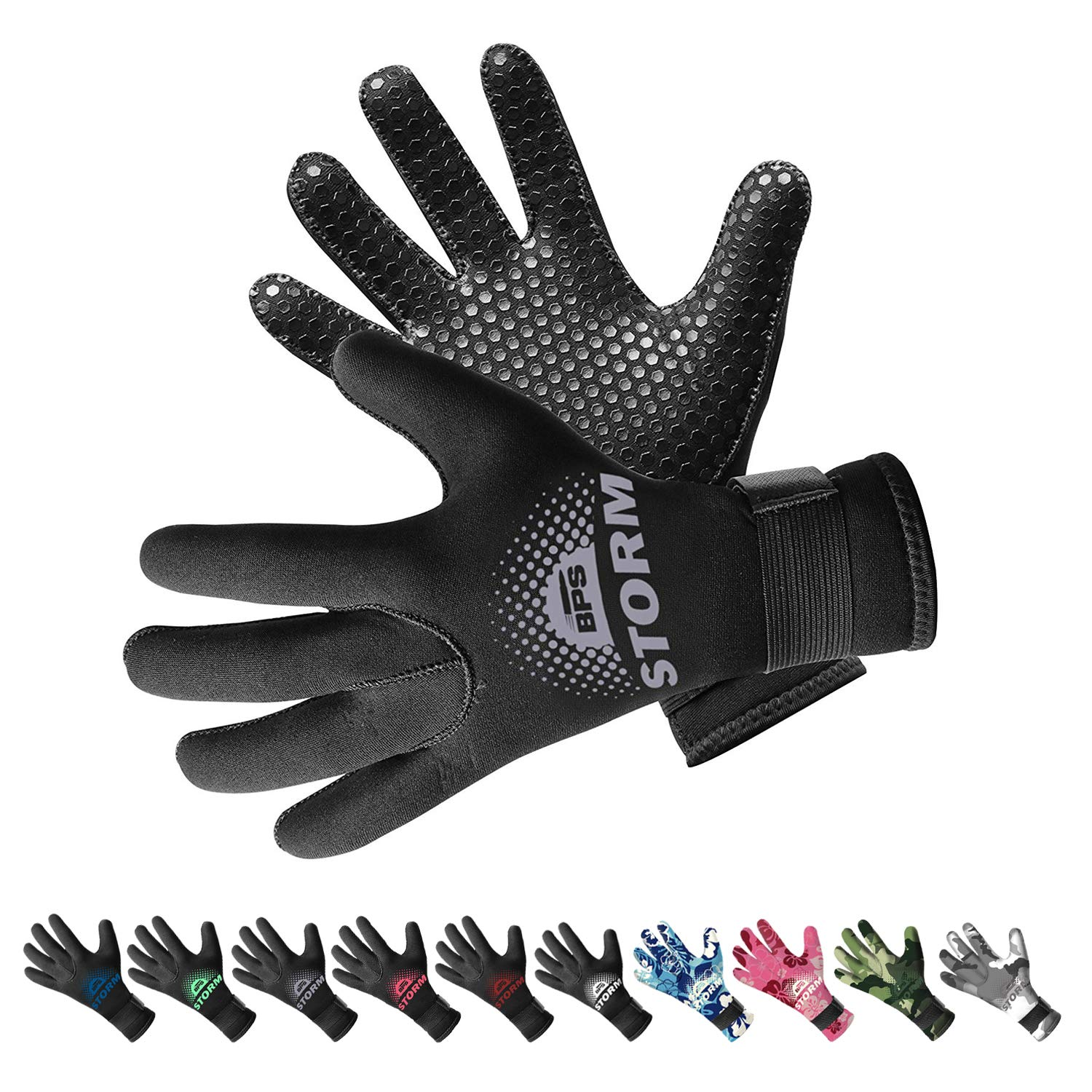 BPS 3mm Neoprene Diving Gloves with Anti Slip Palm - Full Finger Gloves for Scuba Diving, Snorkeling, Surfing, Paddleboarding, and Other Water Sports - for Kids and Adults (Black/Lilac Grey, Large) by BPS