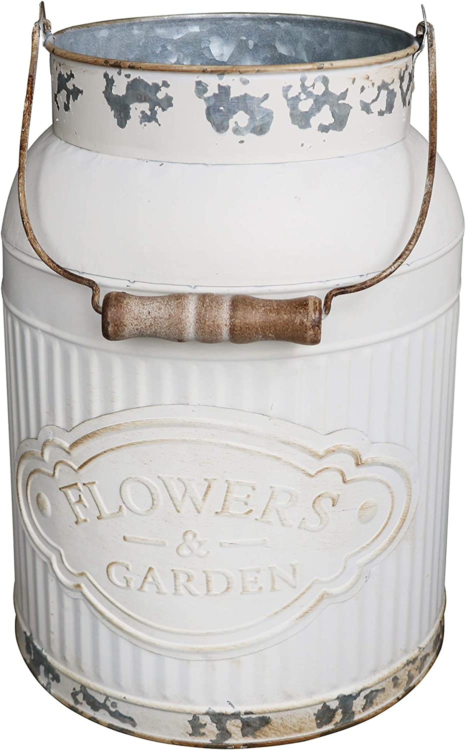 HyFanStr French Style White Milk Can Shabby Chic Metal Vase Flowers Bucket Rustic Pitcher Jug for Home Garden Decor Large