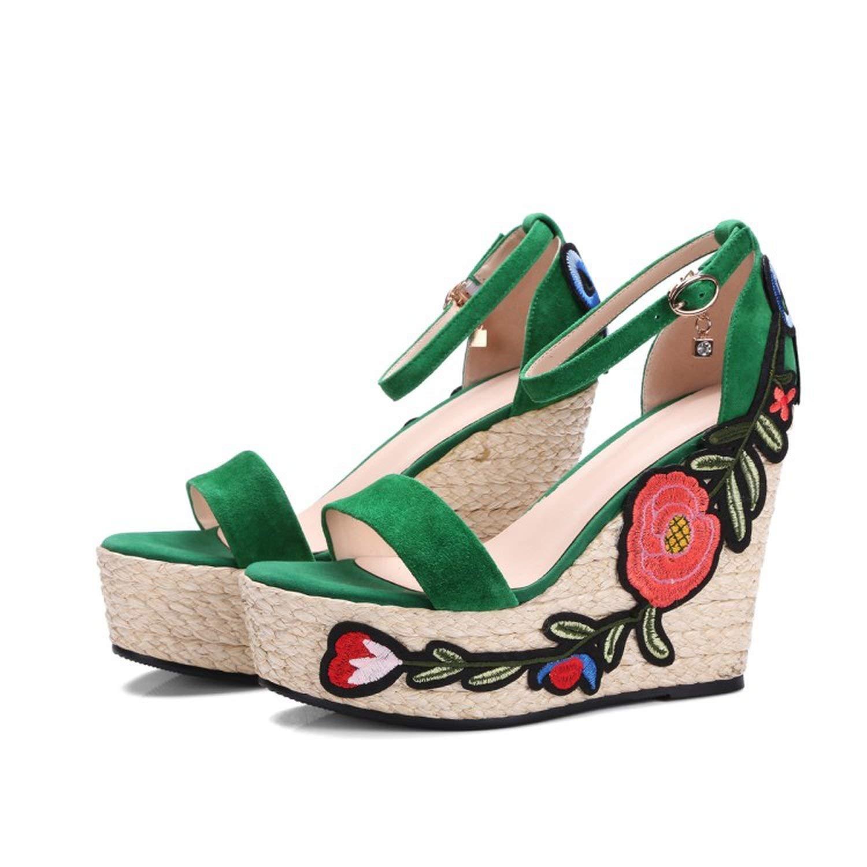 Green Summer shoes Platform Wedge 12 cm Super high Heels Embroidery Flower Hemp Rope Bohemian Sandalias