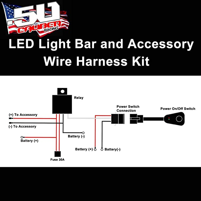Amazon.com: 50 Caliber Racing Universal Wire Harness Kit with Relay and  On/Off Switch for 12V Accessories: Pod Lights, Light bar, Lighted Whip,  Dome Light, Heater, Audio Equipment [5045C1]: AutomotiveAmazon.com