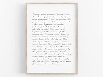 Arvier Custom Song Lyric Print Custom Print Wedding Song