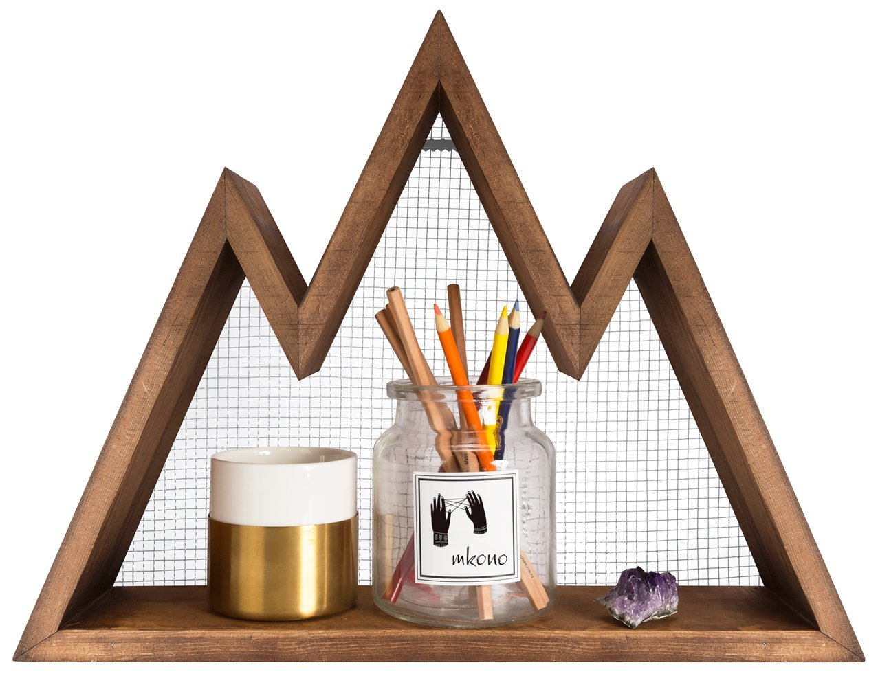 Mkono Wall Shelf Wood Floating Mountain Shelf Crystal Display Shelf Rustic Triangle Wall Art Geometric Decor for Nursery, Bedroom -Perfect Housewarming Gifts - ✔ Mkono mountain shelf can be a statement piece in any room. It's unique design and shape can stand alone or display home decor items. It's ideal for wall organizer and small accessories storage in open spaces. ✔ Geometric decor wall shelf is made of wood and the classic walnut finish fits almost any styles. The rustic wooden texture is perfect for home decor,nursery decor,bedroom decor and more. Instruction and install hardware are included. ✔ Floating wooden shelf allows you to organize family photos, crystal display and small plants effectively without taking too much space, whereas providing a simple and modern ornament to your home. - wall-shelves, living-room-furniture, living-room - 71X78BRw8WL -