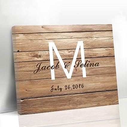Amazon.com: Larmai Rustic Wood Guestbook Sign Wedding Canvas Wooden ...