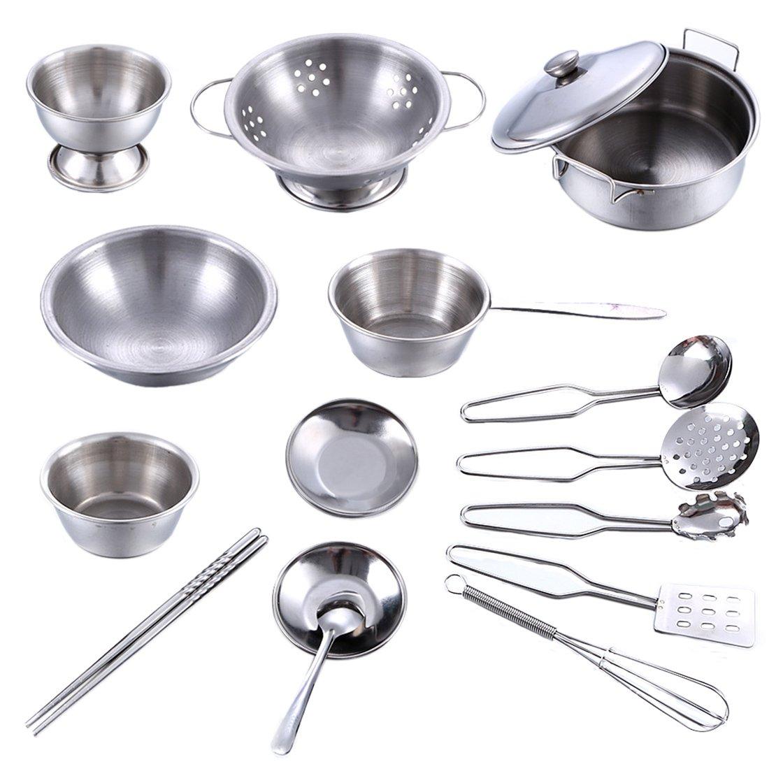 Kinderküche Geschirr Set, Lommer 16 Stück Edelstahl Kochutensilien ...