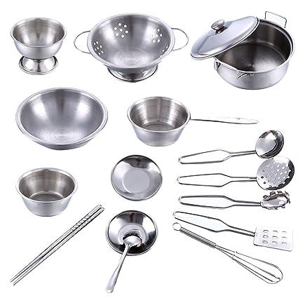 BSPAS Juguetes de Cocina 16 Piezas Acero Inoxidable Metal Utensilios de Cocina Batería de Cocina para Niños Juegos