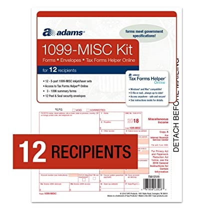Amazoncom Adams 1099 Misc Tax Forms For 2018 5 Part Inkjetlaser
