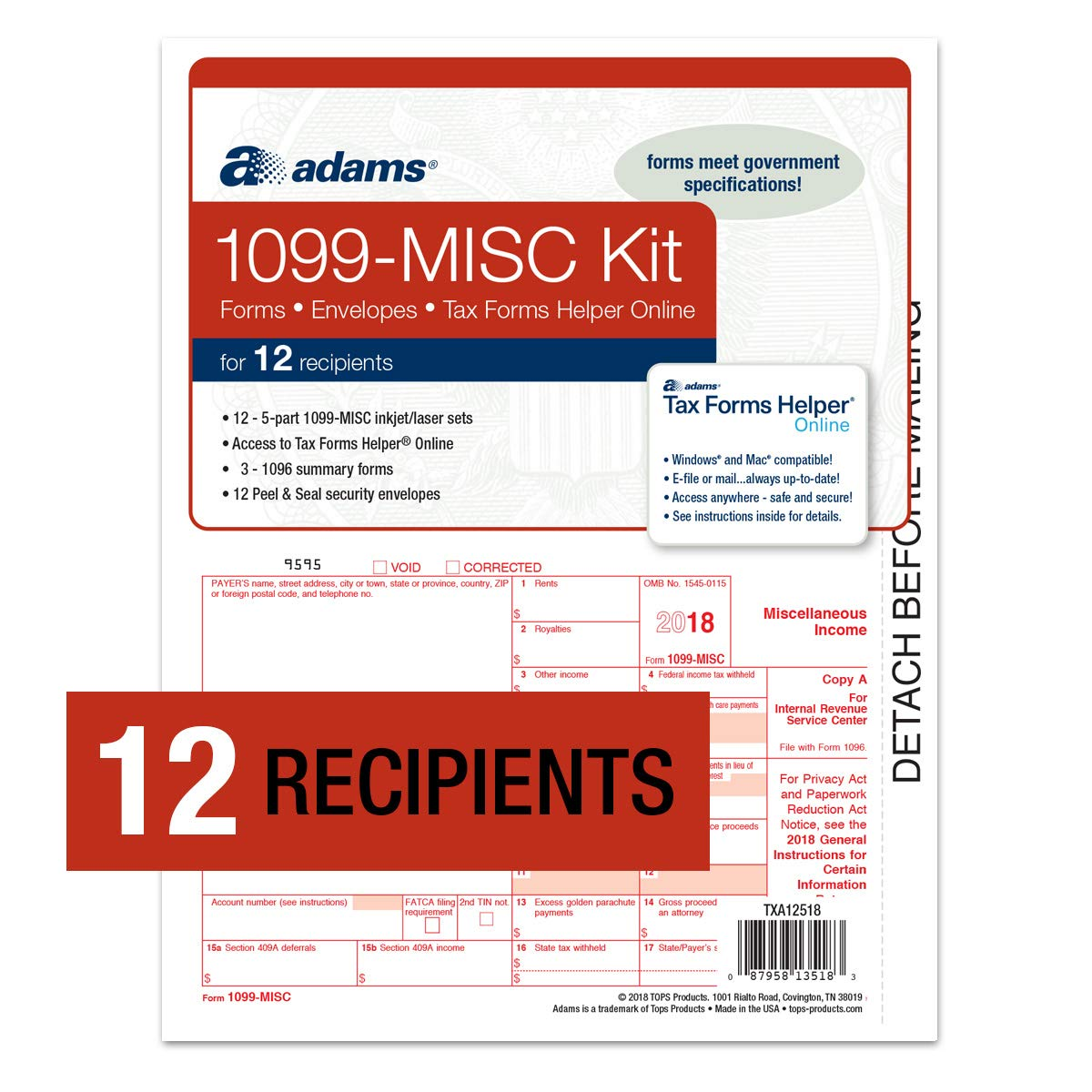 Adams 1099-MISC Tax Forms for 2018-5-Part Inkjet/Laser Sets for 12, Three 1096 Summary Forms, 12 envelopes & Access to Adams TFH Online (TXA12518)