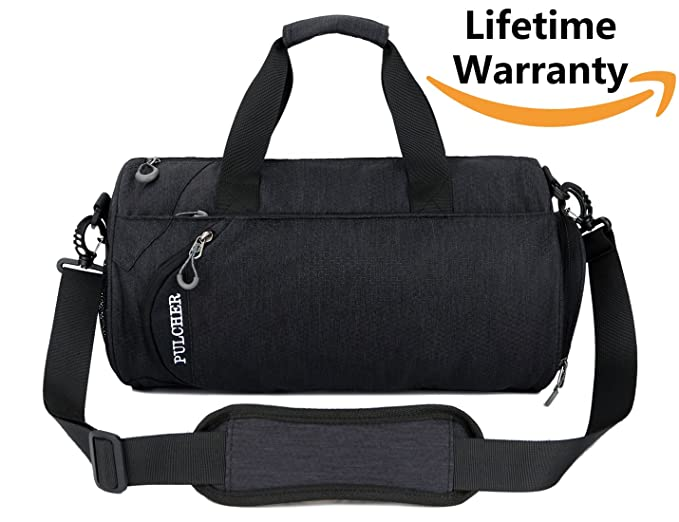 K-Cliffs Foldable Duffel Bag Durable Lightweight Travel Duffle Heavy Duty Sport Gym Bag with Shoes Compartment 20 L Medium Black